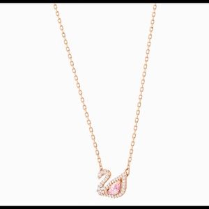 DAZZLING SWAN MULTI-COLORED, ROSE-GOLD TONE PLATED